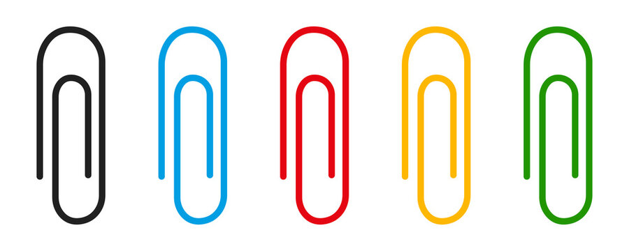 Paper clip icon collection. Clinch symbol. Vector isolated elements. Office clip set.