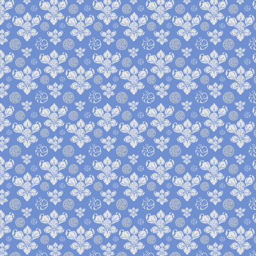 Pattern ornate floral style pattern paper decorative white and blue flower elements on blue background
