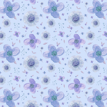 Watercolour floral pattern decorative paper blue with hint of pink flower edged blue background wallpaper