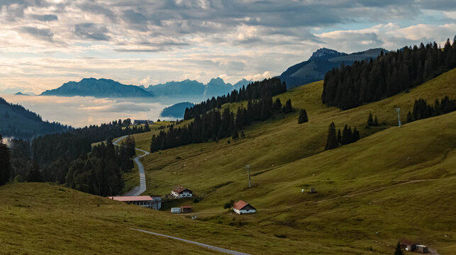 Beautiful alpine summer morning view at the famous Sudelfeld near Spitzingsee, Bavaria, Germany