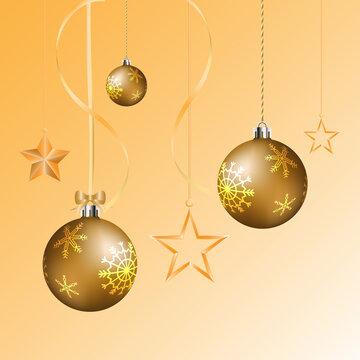 Christmas balls and glossy star hanging on christmas background.