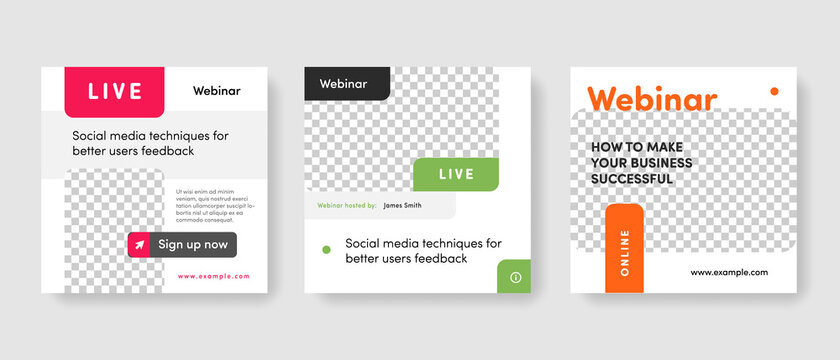 live webinar promotion templates for social media. Editable layouts for instagram and facebook for teachers and influencers