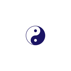 Yin Yang icon. Dark blue on white. Symbol of balance and harmony. Vector icon isolated on a white background