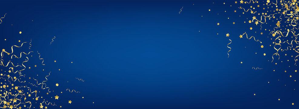 Golden Star Swirl Vector Panoramic Blue