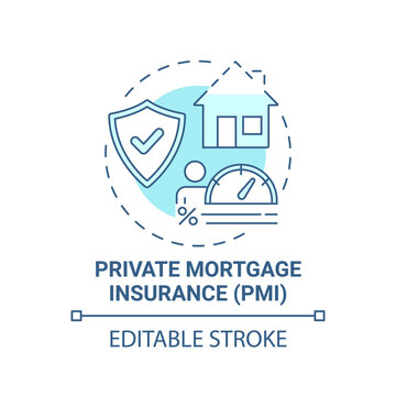 Private mortgage insurance concept icon. Mortgage payment element idea thin line illustration. Mortgage amount percentage. Added expense. Vector isolated outline RGB color drawing. Editable stroke