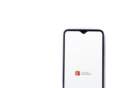 Autodesk SketchBook - draw and paint app launch screen with logo on the display of a black mobile smartphone isolated on white background