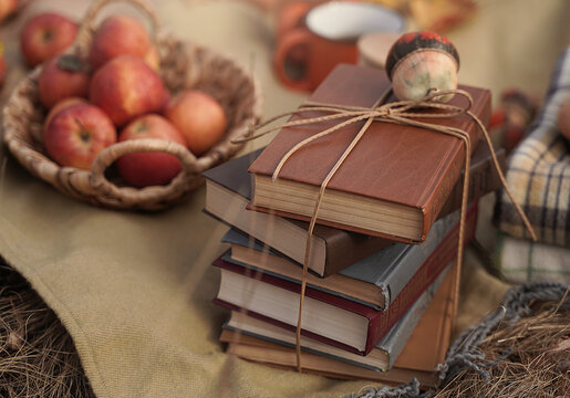 Old novels book, apples in a basket, a couple of cups on an autumn picnic, autumn still life, the concept of coziness in a rural location during harvesting