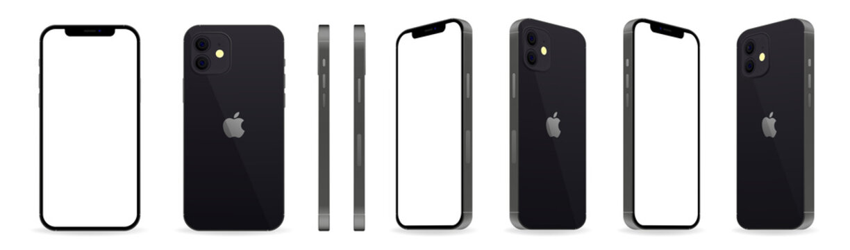 Iphone 12. Iphone in different positions. Realistic layout of the smartphone. Mockup style. Phone of different angles. Editorial vector illustration. Vinnitsa, Ukraine - October 14, 2020