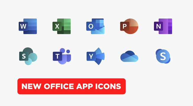 Set icons Microsoft Office 365: Word, Excel, Teams, OneNote, OneDrive, PowerPoint, SharePoint, Outlook, Skype... Vector illustration EPS10