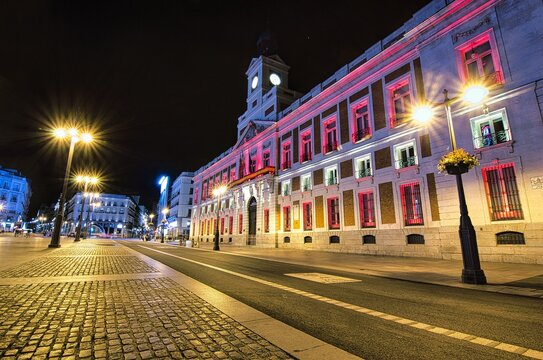 Puerta del Sol (Sun Square) isolated at night in Madrid (Spain)