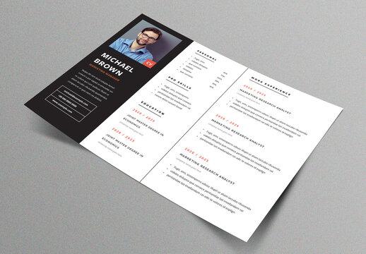 Modern Horizontal Resume Layout with Black Sidebar Element