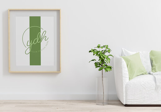 Frame Poster on Living Room Mock Up with Sofa