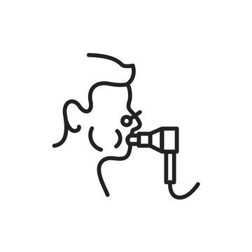 Functional pulmonary test black line icon. Outline pictogram