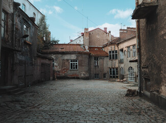 narrow street in old city