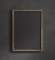 Photo sur Plexiglas Dinosaurs Old frame mock up close up on black wall, 3d render