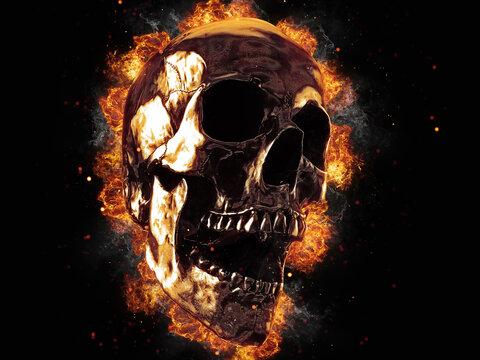 Screaming metal skull on fire