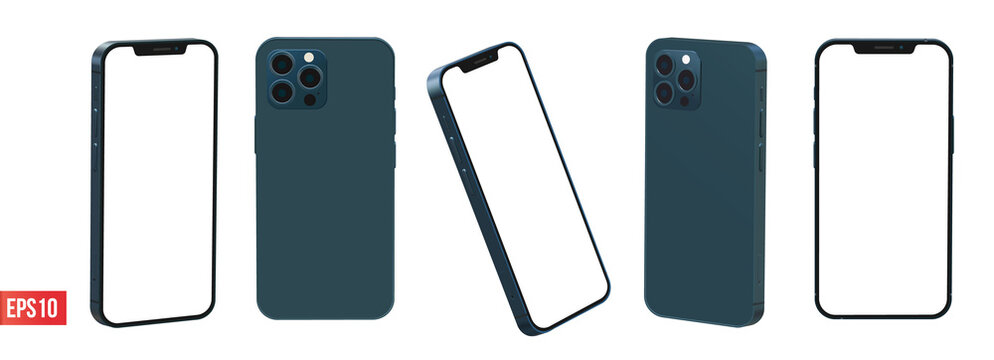 iPhone 12 pro max pacific blue color 3d realistic vector mockup set