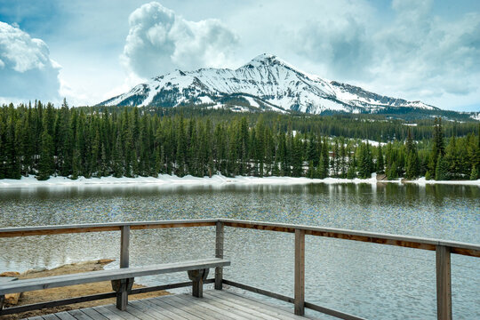 The View of Lone Peak in Big Sky Montana from Moonlight Basin dock
