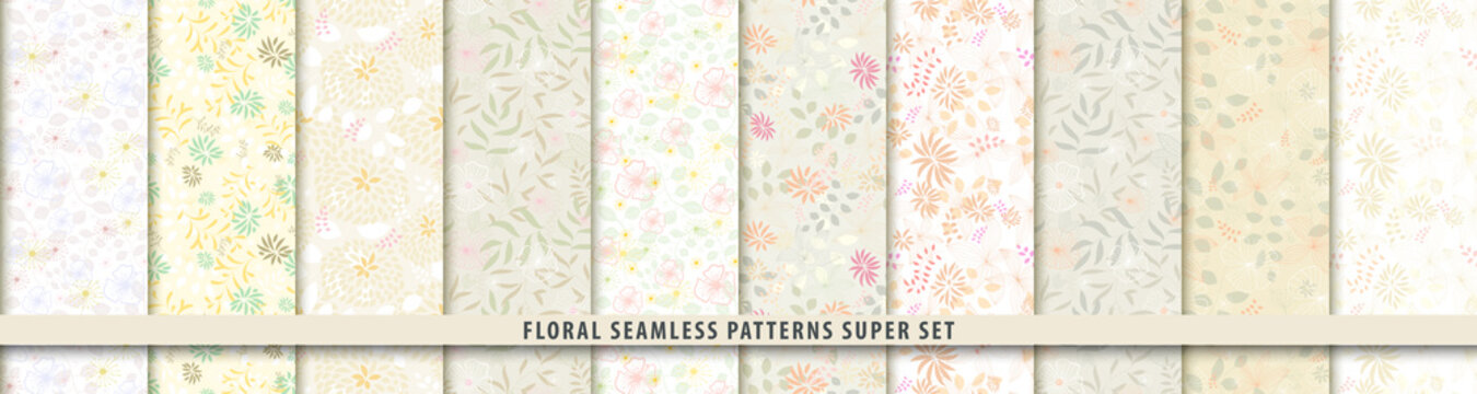 Floral seamless textile pattern set. Flowers and leaves.. Light vector fabric background.