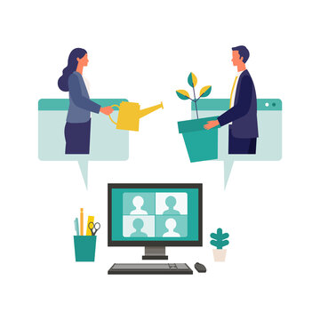 Metaphor of growth, support, assistance. Flat design vector illustration of business people.