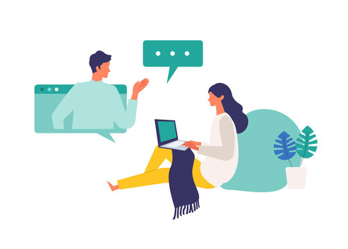 Concept for remote work, online class, teleconference. Vector illustration of people having communication via telecommuting system.