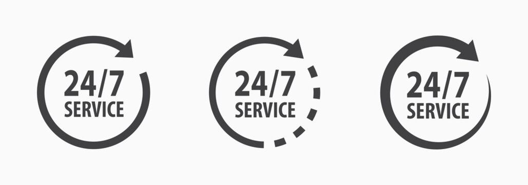24-7 service icon. Vector illustration on white.