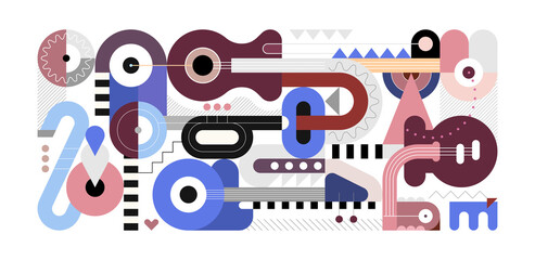 Geometric style vector illustration, colored flat design of different musical instruments isolated on a white background. Abstract art composition of electric guitar, acoustic guitars, trumpet and sax