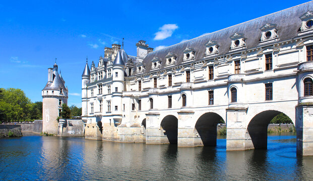 Chenonceau, France - August 18, 2020: The Chateau de Chenonceau in the Loire Valley