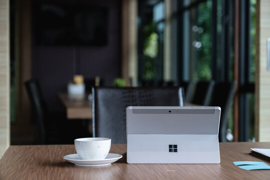 CHIANGMAI, THAILAND - OCT 15, 2020 : Microsoft Surface tablet on desk. created by Microsoft for Windows 10.