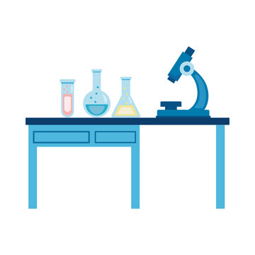 medical tube tests flasks and microscope in laboratory desk flat icons