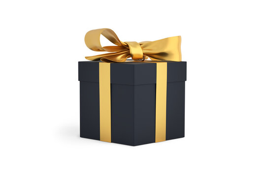 Christmas gift black box tied with gold ribbon. Birthday gift with love. Happy celebration present. 3D rendering