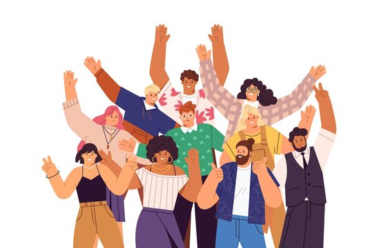 Group of happy people standing together, waving and inviting new customer, colleague. Concept of happy multiethnic team welcome newcomer. Flat vector cartoon illustration isolated on white