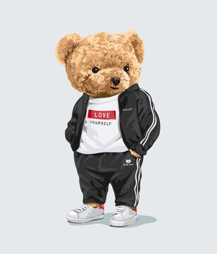 cute teddy bear in sport track suit illustration