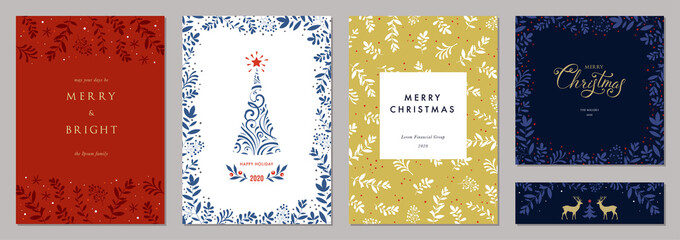Holidays cards with Christmas tree, reindeers, floral frames and backgrounds. Modern universal artistic templates. Vector illustration.