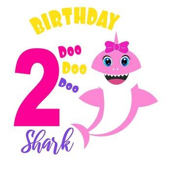 cute baby shark birthday card illustration