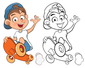 Vector Illustration of a Cute Cartoon Character Boy Skateboarder for you Design and Computer Game. Coloring Book Outline Set Skateboarding