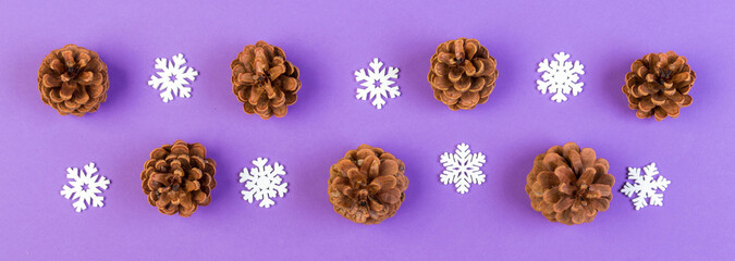 Wall Mural - Top view Banner of holiday composition made of pine cones and white snowflakes on colorful background. Winter time and Christmas concept with copy space