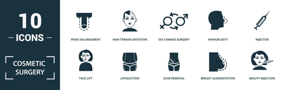 Cosmetic Surgery icon set. Monochrome sign collection with face lift, liposuction, scar removal, breast augmentation and over icons. Cosmetic Surgery elements set.