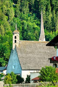 Churches at Burgeis or Burgusio in South Tyrol, the Italian Alps