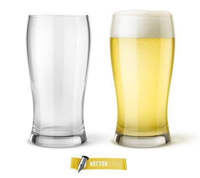 Verres de bière vectoriels sur fond blanc