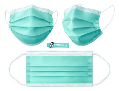 Masques chirurgicaux vectoriels sur fond blanc
