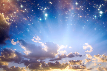 Wall Mural - divine angelic rays of light over mystic mystical sky with stars like angel spiritual Haeven religious background