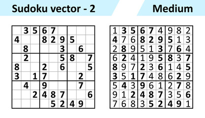 Sudoku game with answers. Simple vector design set Sudoku. Blank template. Complexity of the task is medium.