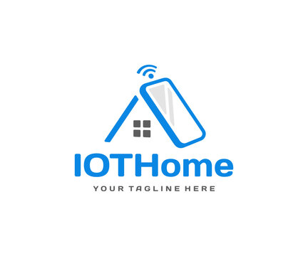 Home automation system logo design. Smart home technology vector design. Mobile phone with roof of the house logotype