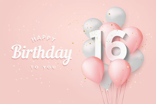 Happy 16th birthday balloons greeting card background. 16 years anniversary. 16th celebrating with confetti. Vector stock