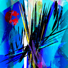 abstract geometric background composition, with paint strokes, splashes and lines