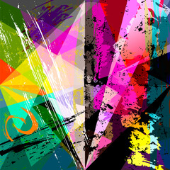 abstract geometric background pattern, with paint strokes, splashes, triangles and squares