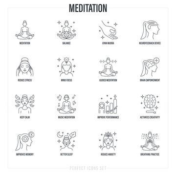 Meditation set: girl in lotus pose, neurofeedback device, gyan mudra, balance, reduce stress, breathing practice, mind focus, concentration, better sleep, memory. Thin line icons. Vector illustration.