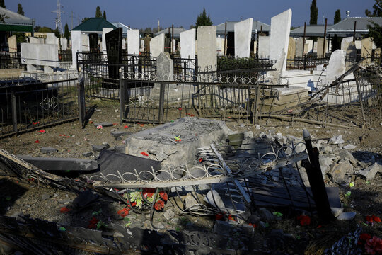 A graveyard hit during the fighting over the breakaway region of Nagorno-Karabakh is seen in the city of Terter