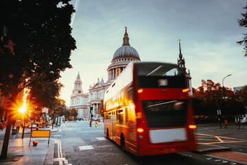 Double decker bus and St Paul's Cathedral, London, UK